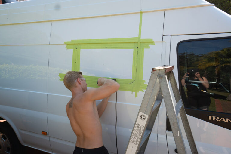 CUTTING A HOLE IN OUR VAN FOR THE WINDOW