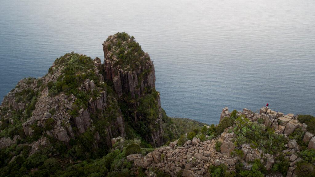BISHOP AND CLERK DOLERITE COLUMNS HIKING ON MARIA ISLAND TASMANIA