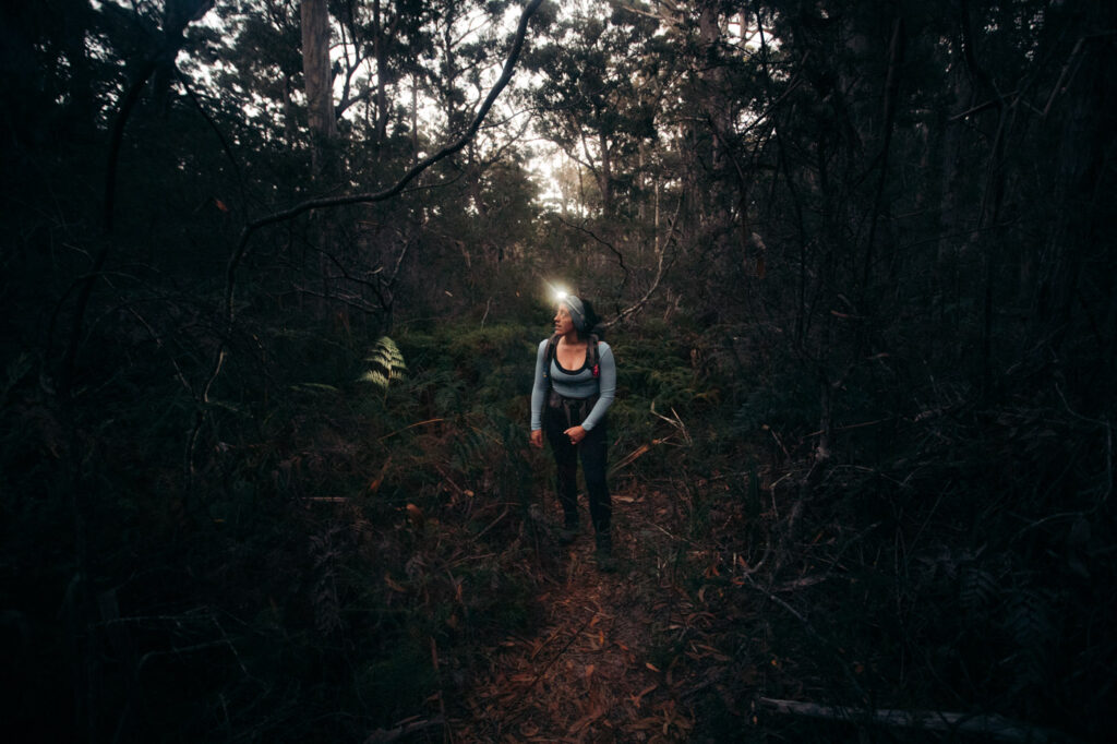 WALKING IN THE DARK ON THE FREYCINET PENINSULA CIRCUIT FROM COOKS BEACH CAMPGROUND TO THE SADDLE