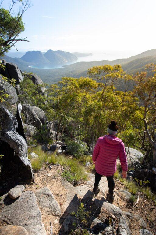 CLIMBING MOUNT FREYCINET ON THE FREYCINET PENINSULA CIRCUIT, TASMANIA