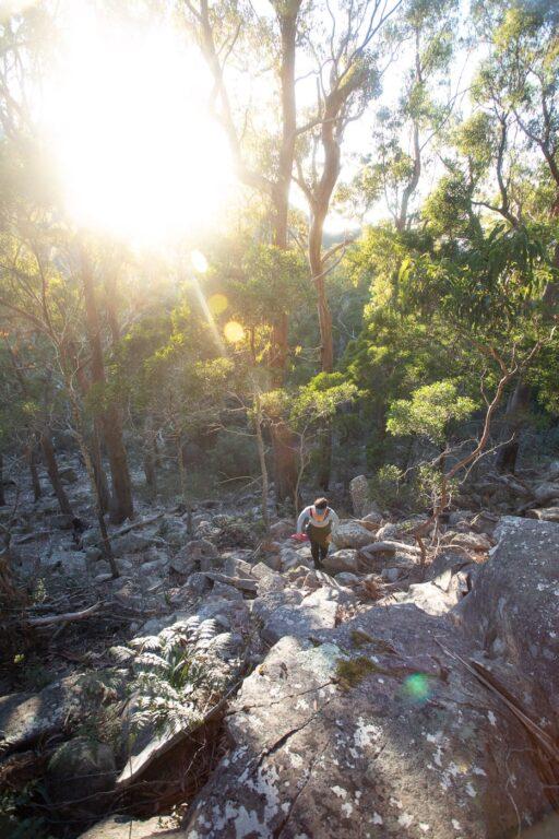 CLIMBING MOUNT FREYCINET, BOULDER SCRAMBLE