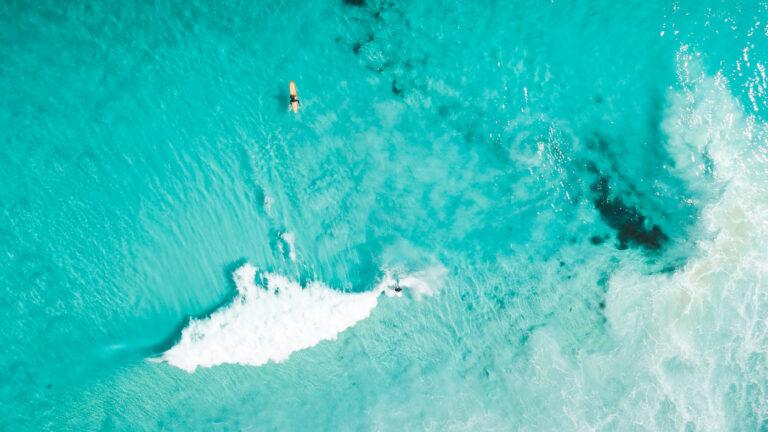 SURFING AT BAY OF FIRES TASMANIA