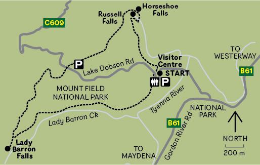 THREE FALLS CIRCUIT MAP IN MT FIELD NATIONAL PARK TASMANIA