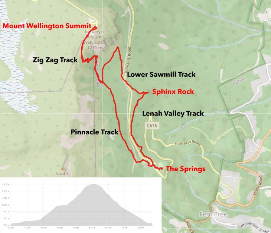 MOUNT WELLINGTON SUMMIT HIKE MAP
