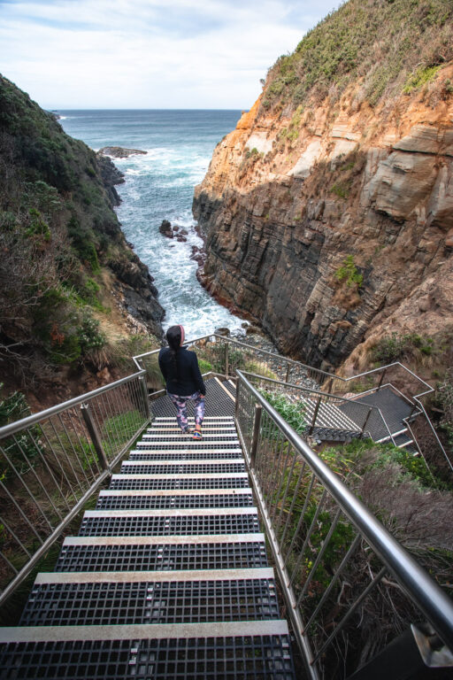 STAIRS TO REMARKABLE CAVE TASMANIA