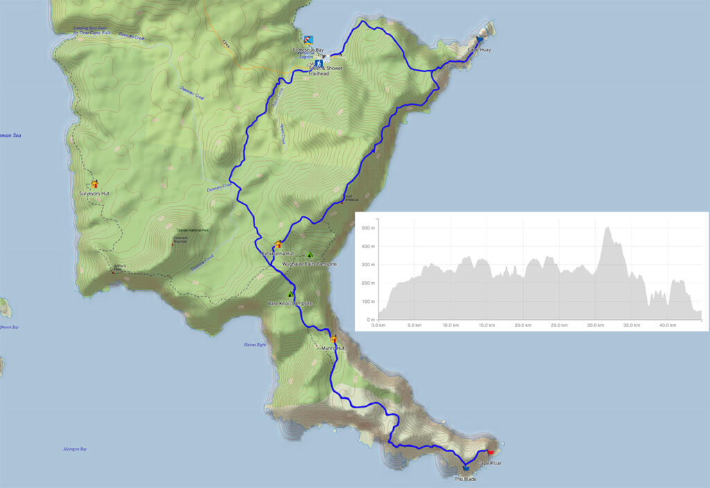 Three Capes Track Map