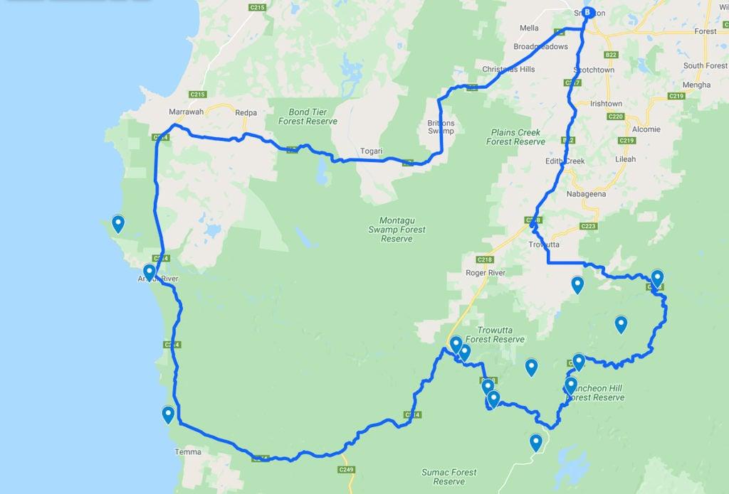 THE TARKINE DRIVE MAP, TASMANIA
