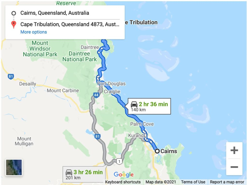 CAIRNS TO CAPE TRIBULATION DRIVE MAP (GREAT BARRIER REEF DRIVE)